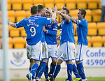St Johnstone v Inverness Caledonian Thistle...05.10.13      SPFL<br /> Dave Mackay is mobbed by his team mates after scoring his goal<br /> Picture by Graeme Hart.<br /> Copyright Perthshire Picture Agency<br /> Tel: 01738 623350  Mobile: 07990 594431