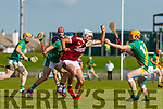 Jason Diggins, Causeway in action against Robert Collins, Kilmoyley during the Kerry County Senior Hurling Championship Final match between Kilmoyley and Causeway at Austin Stack Park in Tralee