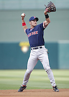 Nomar Garciaparra of the Boston Red Sox takes infield before a 2002 MLB season game against the Los Angeles Angels at Angel Stadium, in Anaheim, California. (Larry Goren/Four Seam Images)