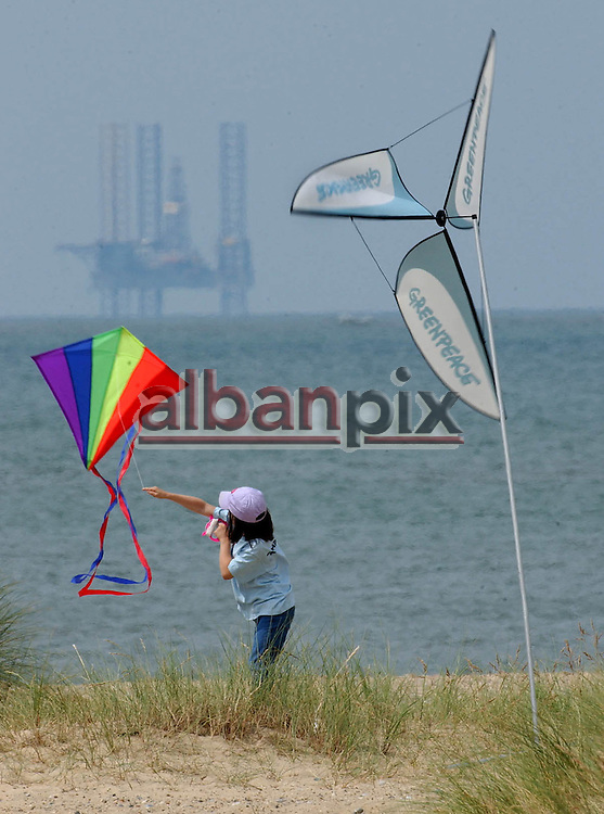 Promotional picture taken for Greenpeace promoting renewable energy on Gt Yarmouth beach, Norfolk