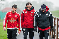 Thursday  21 January 2016<br /> Pictured:  Physio Richard Buchanan, Gabriel Ambrosetti and Swansea Head Coach Francesco Guidolin <br /> Re: Swansea City Training Session at the Fairwood training ground