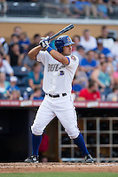 Luke Maile (26) of the Durham Bulls at bat against the Louisville Bats at Durham Bulls Athletic Park on August 9, 2015 in Durham, North Carolina.  The Bulls defeated the Bats 9-0.  (Brian Westerholt/Four Seam Images)