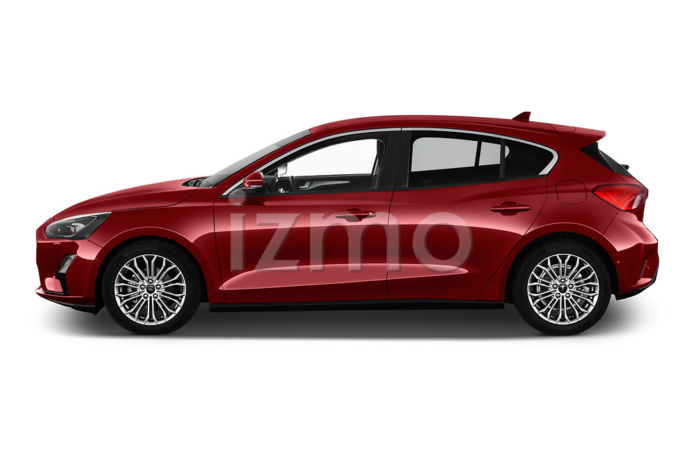 Car driver side profile view of a 2019 Ford Focus Titanium Business 5 Door Hatchback