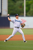 Tampa Tarpons third baseman Chad Bell (19) throws to first base during a game against the Fort Myers Mighty Mussels on May 19, 2021 at George M. Steinbrenner Field in Tampa, Florida. (Mike Janes/Four Seam Images)