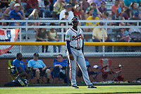 Danville Braves manager Anthony Nunez (2) of the Danville Braves coaches third base during the game against the Burlington Royals at Burlington Athletic Stadium on July 13, 2019 in Burlington, North Carolina. The Royals defeated the Braves 5-2. (Brian Westerholt/Four Seam Images)