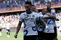 12th September 2021; G.Ferraris Stadium, Genoa, Italy; Serie A football, Sampdoria versus Inter Milan; Lautaro Martinez of Inter  celebrates after scoring his gol for 2-1 in the 44th minute