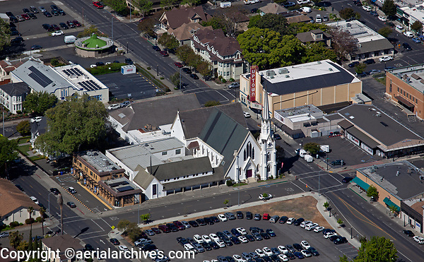 aerial photograph of the First Presbytarian Church,  Napa, California during a service with a full parking lot