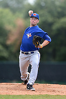 GCL Blue Jays starting pitcher Sean Reid-Foley (29) delivers a warmup pitch during a game against the GCL Braves on June 27, 2014 at ESPN Wide World of Sports in Orlando, Florida.  GCL Braves defeated GCL Blue Jays 10-9.  (Mike Janes/Four Seam Images)