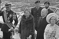 Left to right at front: Prince Bernhard of Lippe-Biesterfeld, Queen Juliana, Roland Michener, and Norah Michener in Amsterdam, April 14, 1971<br /> <br /> Photo : Bert Verhoeff / Anefo via Agence Quebec Presse