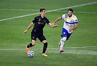 LOS ANGELES, CA - SEPTEMBER 02: Francisco Ginella #8 of LAFC moves with the ball past Valeri Qazaishvili #11of San Jose Earthquakes during a game between San Jose Earthquakes and Los Angeles FC at Banc of California stadium on September 02, 2020 in Los Angeles, California.