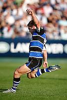 Photo: Richard Lane/Richard Lane Photography. Bath Rugby v Leicester Tigers. Aviva Premiership. 01/10/2011. Bath's Tom Heathcote kicks the winning penalty.
