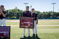 STANFORD, CA - MAY 29: Senior Jonathan Worley, David Esquer before a game between Oregon State University and Stanford Baseball at Sunken Diamond on May 29, 2021 in Stanford, California.