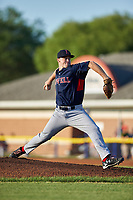 Lowell Spinners starting pitcher Durin O'Linger (51) delivers a pitch during a game against the Batavia Muckdogs on July 11, 2017 at Dwyer Stadium in Batavia, New York.  Lowell defeated Batavia 5-2.  (Mike Janes/Four Seam Images)