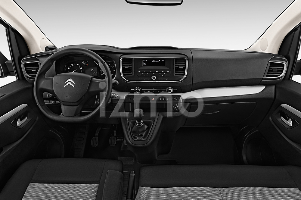 Stock photo of straight dashboard view of a 2017 Citroen Space Tourer Business 4 Door Passenger Van