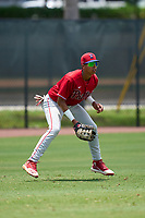 Philadelphia Phillies outfielder Leandro Pineda (2) during an Extended Spring Training game against the New York Yankees on June 22, 2021 at the Carpenter Complex in Clearwater, Florida. (Mike Janes/Four Seam Images)