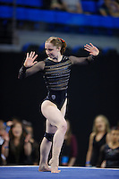LOS ANGELES, CA - April 19, 2013:  Stanford's Shona Morgan competes on floor exercise during the NCAA Championships at UCLA.