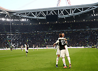 Calcio, Serie A: Juventus - Cagliari, Turin, Allianz Stadium, January 6, 2020.<br /> Juventus' Gonzalo Higuain (r) celebrates after scoring with his teammate Cristiano Ronaldo (l) during the Italian Serie A football match between Juventus and Cagliari at Torino's Allianz stadium, on January 6, 2020.<br /> UPDATE IMAGES PRESS/Isabella Bonotto