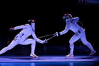 BOGOTA – COLOMBIA – 28 – 05 – 2017: Man Wai Vivian Kong (Izq.) de Hong Kong, combate con Emese Szasz-Kovacs (Der.) de Hungria, durante las Finales Damas Mayores Epee del Gran Prix de Espada Bogota 2017, que se realiza en el Centro de Alto Rendimiento en Altura, del 26 al 28 de mayo del presente año en la ciudad de Bogota.  / Man Wai Vivian Kong (L) from Hong Kong, fights with Emese Szasz-Kovacs (R) from Hungary, during the Finals Senior Women´s Epee of the Grand Prix of Espada Bogota 2017, that takes place in the Center of High Performance in Height, from the 26 to the 28 of May of the present year in The city of Bogota.  / Photo: VizzorImage / Luis Ramirez / Staff.