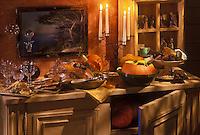 Gastronomie générale/Repas de Réveillon/ Noël en Provence: Soupe de potiron au lait de basilic, chapon à la truffe blanche, et beignets de cardons et les treize desserts