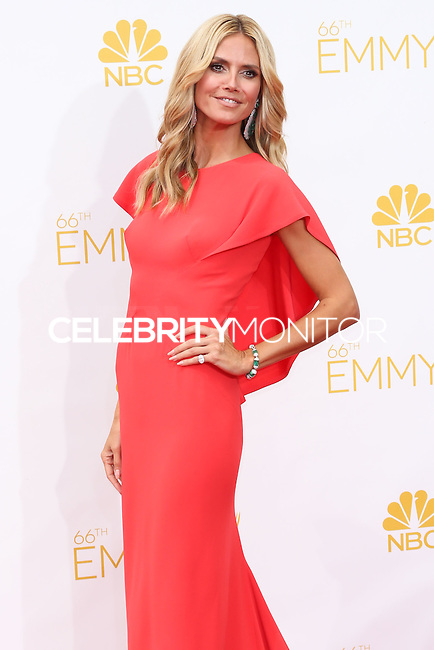 LOS ANGELES, CA, USA - AUGUST 25: Model Heidi Klum arrives at the 66th Annual Primetime Emmy Awards held at Nokia Theatre L.A. Live on August 25, 2014 in Los Angeles, California, United States. (Photo by Celebrity Monitor)