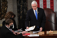 US Vice President Mike Pence presides over a joint session of Congress to count the electoral votes for President at the US Capitol in Washington, DC, January 6, 2021.<br /> CAP/MPI/RS<br /> ©RS/MPI/Capital Pictures