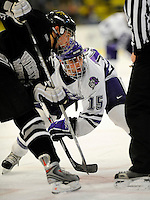 30 December 2007: Holy Cross Crusaders' forward Chris Trovato, a Senior from North Attleboro, MA, in action against the Western Michigan University Broncos at Gutterson Fieldhouse in Burlington, Vermont. The teams skated to a 1-1 tie, however the Broncos took the consolation game in a 2-0 shootout to win the third game of the Sheraton/TD Banknorth Catamount Cup Tournament...Mandatory Photo Credit: Ed Wolfstein Photo