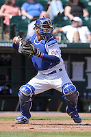 Iowa Cubs catcher Willson Contreras (40) throws to second base during the game against the New Orleans Zephyrs at Principal Park on April 14, 2016 in Des Moines, Iowa.  The Cubs won 4-2 .  (Dennis Hubbard/Four Seam Images)