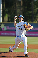 Myrtle Beach Pelicans pitcher Nick Tepesch #23 on the mound during a game against the Wilmington Blue Rocks at Tickerreturn.com Field at Pelicans Ballpark on April 8, 2012 in Myrtle Beach, South Carolina. Wilmington defeated Myrtle Beach by the score of 3-2. (Robert Gurganus/Four Seam Images)