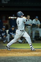 Nick Coble (34) of the Catawba Indians follows through on his swing against the Belmont Abbey Crusaders at Abbey Yard on February 7, 2017 in Belmont, North Carolina.  The Crusaders defeated the Indians 12-9.  (Brian Westerholt/Four Seam Images)