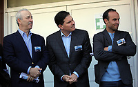 Pictured L-R: Steve Kaplan, Jason Levien and Landon Donovan Tuesday 04 April 2017<br />Re: Official opening of the Fairwood Training Complex of Swansea City FC, Wales, UK