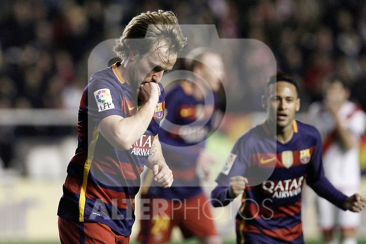 FC Barcelona's Ivan Rakitic (l) and Neymar Jr celebrate goal during La Liga match. March 3,2016. (ALTERPHOTOS/Acero)