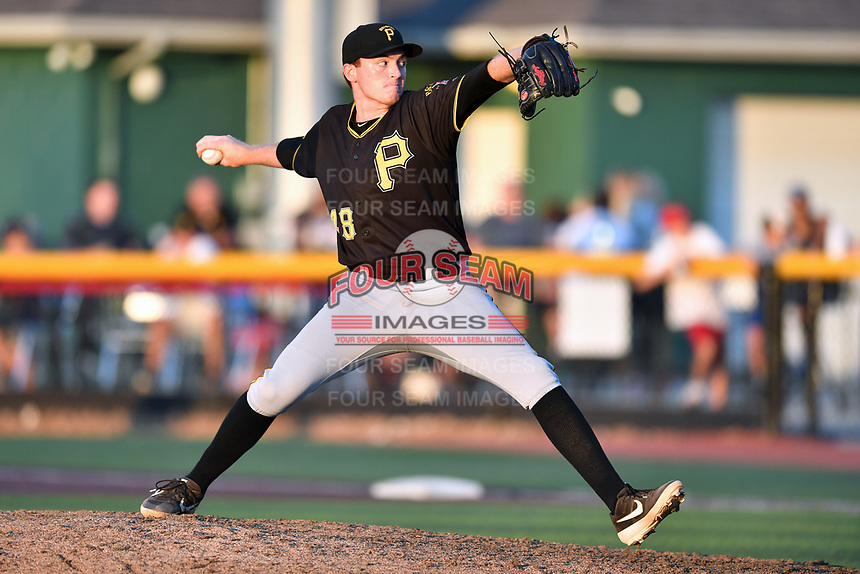 Bristol Pirates pitcher Alex Roth (48) delivers a pitch during game two of the Appalachian League, West Division Playoffs against the Johnson City Cardinals at TVA Credit Union Ballpark on August 31, 2019 in Johnson City, Tennessee. The Cardinals defeated the Pirates 7-4 to even the series at 1-1. (Tony Farlow/Four Seam Images)