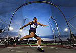 Robert Urbanek of Poland throws the discus on his way to placing second in the Men's Discus on the opening day of the Prefontaine Classic at Hayward Field in Eugene, Oregon, USA, 29 MAY 2015. (EPA Photo by Steve Dykes)