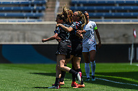 BRIDGEVIEW, IL - JUNE 5: Rachel Hill #5 celebrates her goal with Arin Wright #3 of the Chicago Red Stars during a game between North Carolina Courage and Chicago Red Stars at SeatGeek Stadium on June 5, 2021 in Bridgeview, Illinois.