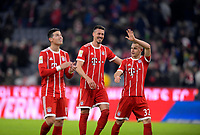 21.01.2018,  Football 1.Liga 2017/2018, 19. match day, FC Bayern Muenchen - SV Werder Bremen, in Allianz-Arena Muenchen. celebration , v.li: James Rodriguez (FC Bayern Muenchen), Sandro Wagner (FC Bayern Muenchen), Joshua Kimmich (FC Bayern Muenchen). *** Local Caption *** © pixathlon<br /> <br /> +++ NED + SUI out !!! +++<br /> Contact: +49-40-22 63 02 60 , info@pixathlon.de