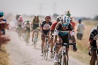 Tony Gallopin (FRA/AG2R-LaMondiale) on pavé sector #6<br /> <br /> Stage 9: Arras Citadelle > Roubaix (154km)<br /> <br /> 105th Tour de France 2018<br /> ©kramon