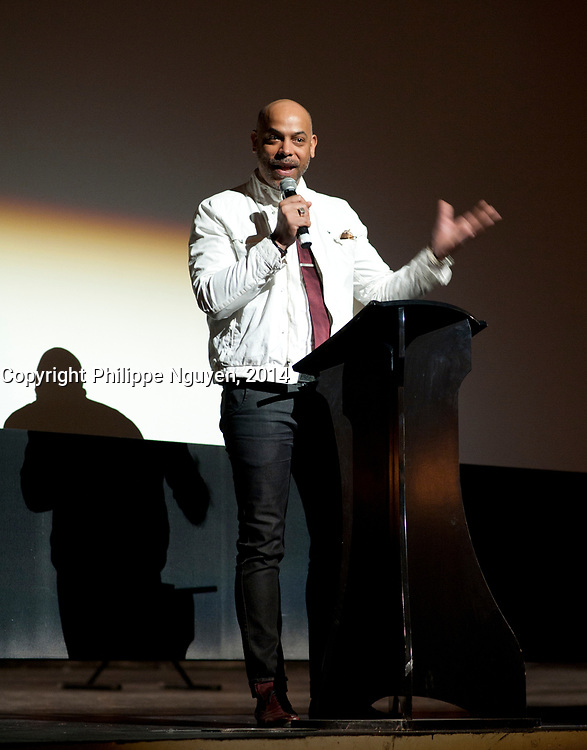 Philippe Femiu, co-presenter speak at Vues D'afriques (cinema festival)'s 30the anniversary at the Imperial Cinema in Montreal, Canada, April 25, 2014.<br /> <br /> <br /> Photo : Philippe Nguyen