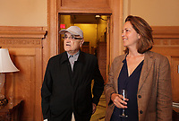 August 27 2012 - Montreal (Qc) CANADA - <br /> The jury of the 2012 World Film Festival at  Montreal City hall.<br /> (Left to right) : Serge Losique, Greta Scacchi.<br /> <br /> The World Films Festival 35th edition run til September 2012.<br /> <br /> <br />  File Photo Agence Quebec Presse - Pierre Roussel