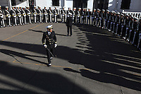 Bolivian Navy soldiers prepare to march to mourn the day they lost their ocean to Chile in the War of the Pacific. Bolivia lost what is now northern Chile in a war over nitrates leaving Bolivia without access to the ocean.