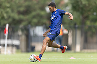 FRISCO, TX - JULY 20: Reggie Cannon passes the ball during a training session at Toyota Soccer Center FC Dallas on July 20, 2021 in Frisco, Texas.