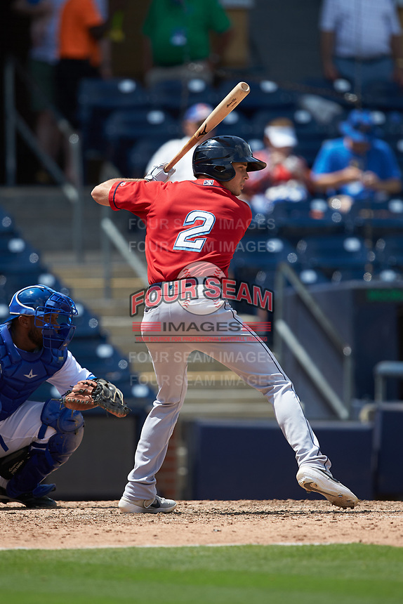 Tyler Krieger (2) of the Columbus Clippers at bat against the Durham Bulls at Durham Bulls Athletic Park on June 1, 2019 in Durham, North Carolina. The Bulls defeated the Clippers 11-5 in game one of a doubleheader. (Brian Westerholt/Four Seam Images)