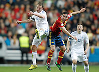 Spain's Santi Cazorla (r) and Finland's Tainio during international match of the qualifiers for the FIFA World Cup Brazil 2014.March 22,2013.(ALTERPHOTOS/Acero)