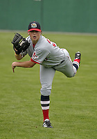 August 7, 2004:  Pitcher Andrew Dobies of the Lowell Spinners, Single-A NY-Penn League affiliate of the Boston Red Sox, during a game at Dwyer Stadium in Batavia, NY.  Photo by:  Mike Janes/Four Seam Images