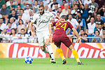 Real Madrid Karim Benzema and A.S. Roma Alessandro Florenzi during UEFA Champions League match between Real Madrid and A.S.Roma at Santiago Bernabeu Stadium in Madrid, Spain. September 19, 2018. (ALTERPHOTOS/Borja B.Hojas)