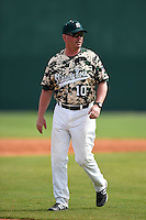 Slippery Rock head coach Jeff Messer (10) during a game against the Kentucky Wesleyan Panthers on March 9, 2015 at Jack Russell Stadium in Clearwater, Florida.  Kentucky Wesleyan defeated Slippery Rock 5-4.  (Mike Janes/Four Seam Images)