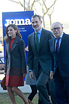 King Felipe VI of Spain and Queen Letizia of Spain with the founder of the company Fructuoso Lopez during the visit to the facilities of the Spanish sportswear company JOMA Sports. January 19, 2018. (ALTERPHOTOS/Acero)