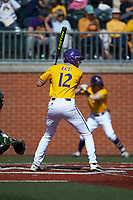 Christian Jayne (12) of the East Carolina Pirates at bat against the Charlotte 49ers at Hayes Stadium on March 8, 2020 in Charlotte, North Carolina. The Pirates defeated the 49ers 4-1. (Brian Westerholt/Four Seam Images)