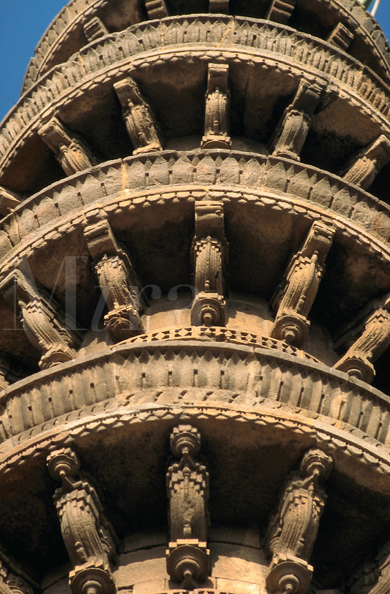 Architectural detail of the ornate, elaborate, carved Shah Alam Roza mosque. Ahmedabad, India.