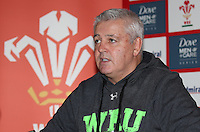 Tuesday 21 October 2014<br /> Pictured: Warren Gatland<br /> Re: Wales head coach Warren Gatland names his squad for the Dove Men Series 2014 at the Vale Resort hotel, South Wales, United Kingdom.
