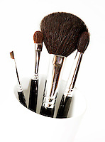 Close up of cosmetic brushes for applying make up